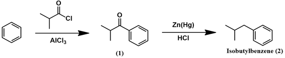 Isobutylbenzene synthesis from benzene through Friedel-Crafts acylation